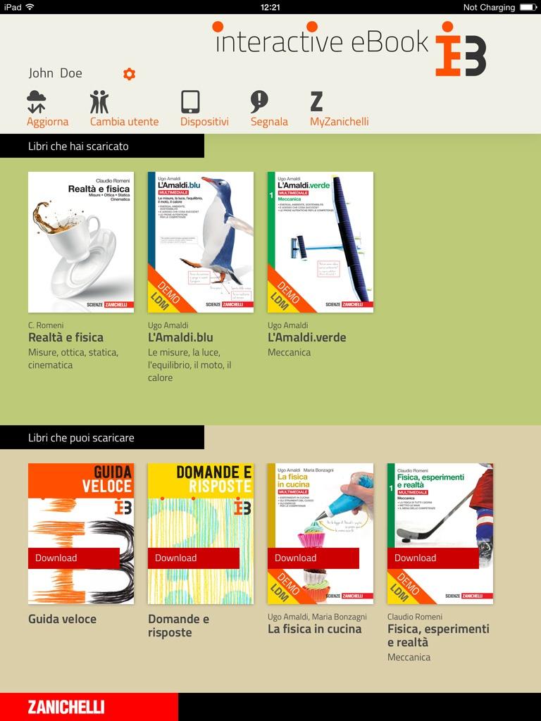 Scaffale Interactive eBook Zanichelli