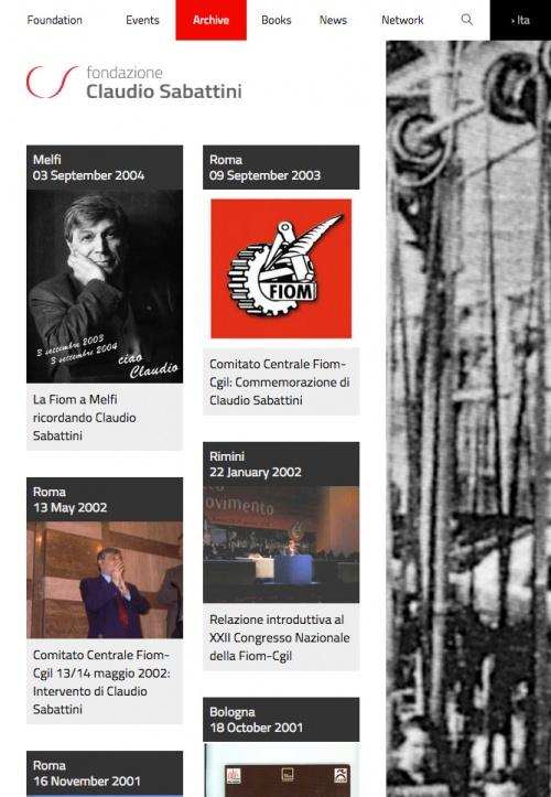 Pagina Fondazione Sabattini a schermo ridotto